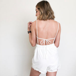 White Backless Romper with Pockets Size Medium